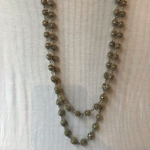 Chico's long 2 stranded silver beaded necklace